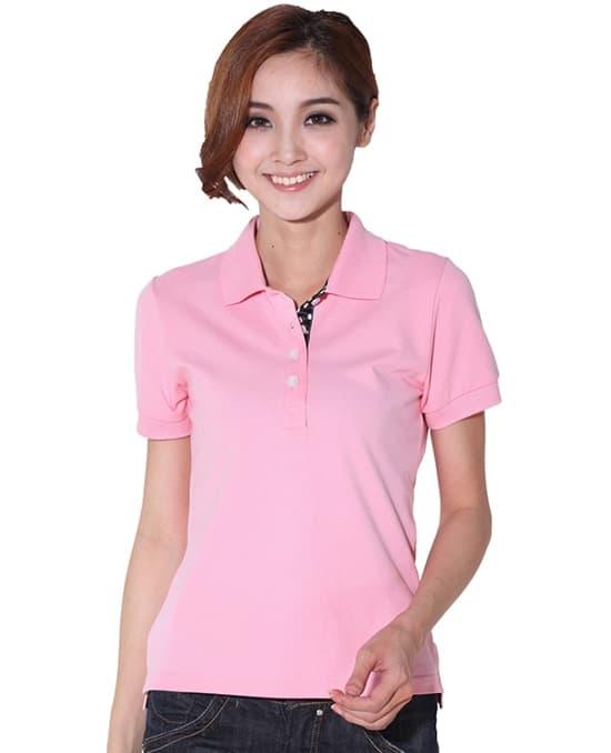 粉红女款polo衫定做