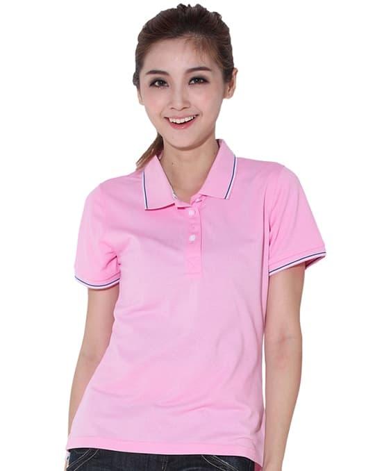 粉色女款polo衫定做