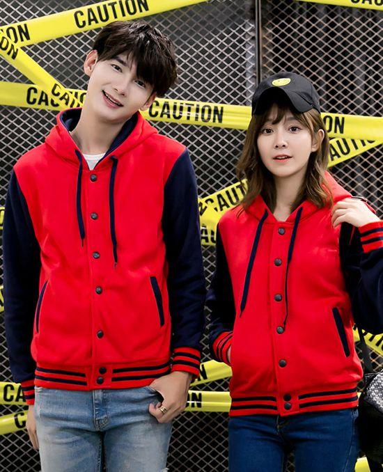 韩版连帽棒球衫卫衣红色