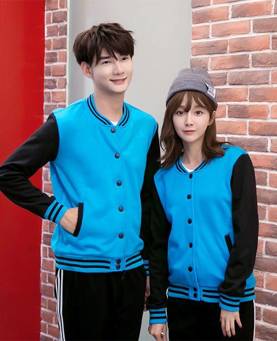 新款加绒棒球衫卫衣蓝色