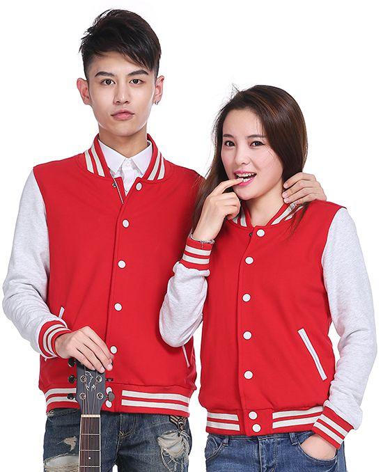 480克韩版棒球服卫衣红色